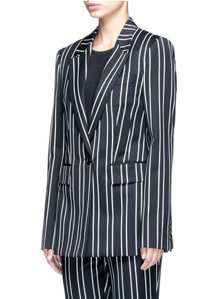 Front View - Click To Enlarge - Givenchy - Stripe wool suiting blazer