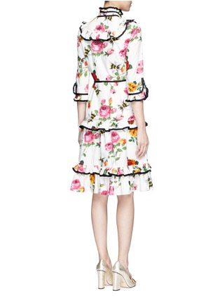 Back View - Click To Enlarge - Gucci - Rose and bee print ruffle poplin dress