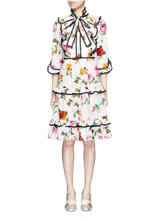 Main View - Click To Enlarge - Gucci - Rose and bee print ruffle poplin dress