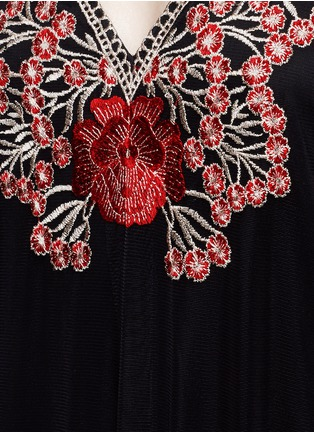 Detail View - Click To Enlarge - alice + olivia - 'Sally' poppy embroidered mesh lace maxi dress