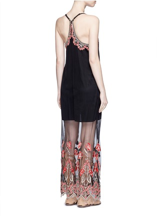 Back View - Click To Enlarge - alice + olivia - 'Sally' poppy embroidered mesh lace maxi dress