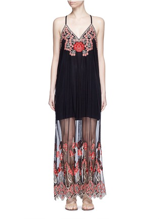 Main View - Click To Enlarge - alice + olivia - 'Sally' poppy embroidered mesh lace maxi dress