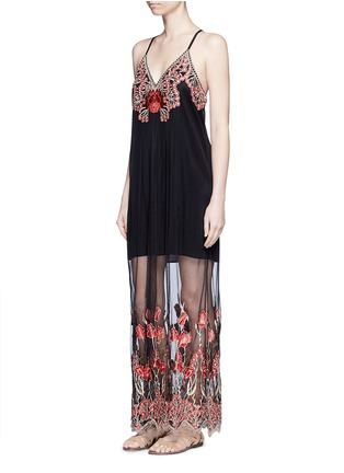 Figure View - Click To Enlarge - alice + olivia - 'Sally' poppy embroidered mesh lace maxi dress