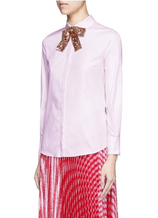 Front View - Click To Enlarge - Gucci - SEQUIN BOW OXFORD SHIRT