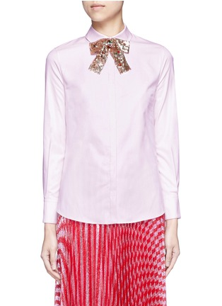 Main View - Click To Enlarge - Gucci - SEQUIN BOW OXFORD SHIRT
