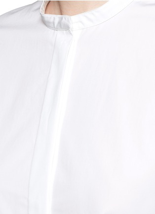 Detail View - Click To Enlarge - Ports 1961 - Asymmetric layered pompom apron cotton poplin shirt