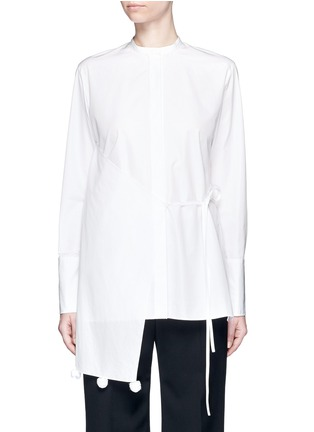 Main View - Click To Enlarge - Ports 1961 - Asymmetric layered pompom apron cotton poplin shirt