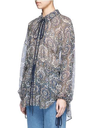 Front View - Click To Enlarge - Chloé - Oriental print silk crépon blouse