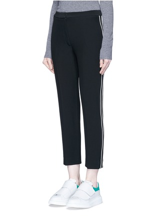 Front View - Click To Enlarge - Alexander McQueen - Contrasting piping leaf crepe cigarette pants
