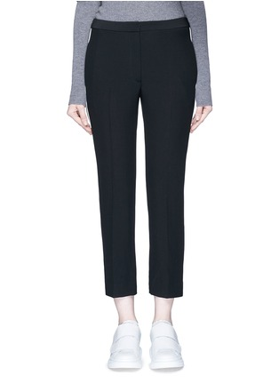 Main View - Click To Enlarge - Alexander McQueen - Contrasting piping leaf crepe cigarette pants