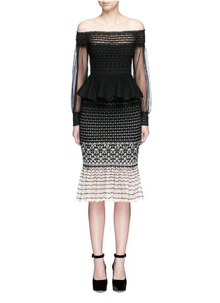 Main View - Click To Enlarge - Alexander McQueen - Off-shoulder macramé stitch tulle peplum dress