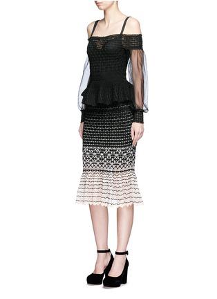 Figure View - Click To Enlarge - Alexander McQueen - Off-shoulder macramé stitch tulle peplum dress