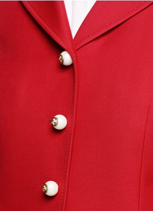 Detail View - Click To Enlarge - GUCCI - Ruffle trim cady suit jacket