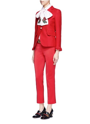 Figure View - Click To Enlarge - Gucci - Ruffle trim cady suit jacket