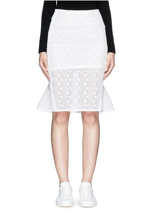 Main View - Click To Enlarge - Mo&Co. - Back peplum hem guipure lace skirt