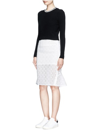 Figure View - Click To Enlarge - Mo&Co. - Back peplum hem guipure lace skirt