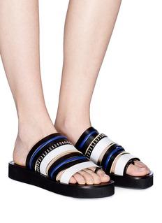 3.1 Phillip Lim 'Eva' stud leather strap platform slide sandals