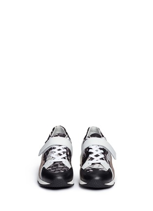 Front View - Click To Enlarge - Pierre Hardy - 'Comet' camouflage cube print leather sneakers