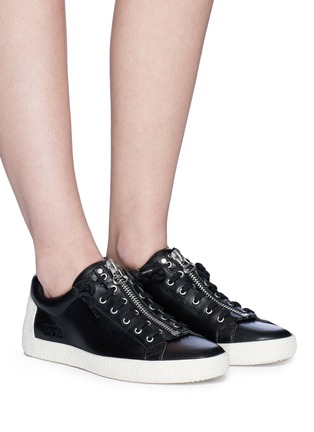 Figure View - Click To Enlarge - Ash - 'Nirvana' cutout star patch leather zip sneakers