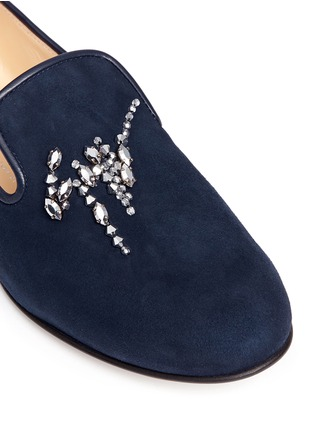 Detail View - Click To Enlarge - Giuseppe Zanotti Design - 'Dalila' strass suede slip-ons