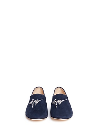 Front View - Click To Enlarge - 73426 - 'Dalila' strass suede slip-ons