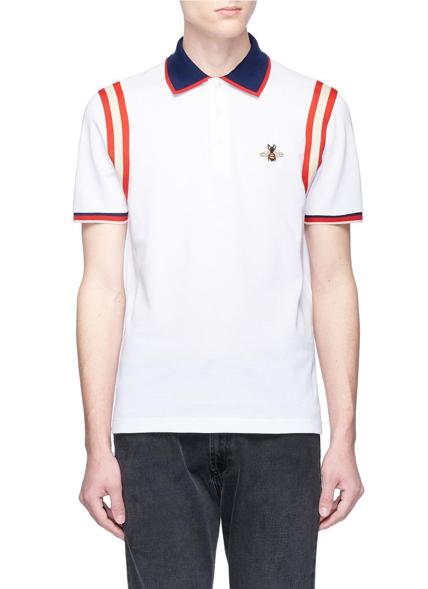 6b91663d95bd GUCCI | Bee appliqué stripe trim polo shirt | Men | Lane Crawford