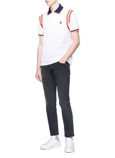 Gucci Bee appliqué stripe trim polo shirt