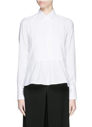 Main View - Click To Enlarge - Valentino - Bib peplum cotton dress shirt