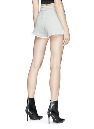 Back View - Click To Enlarge - Alexander Wang  - 'Bite' frayed cuff panelled denim shorts