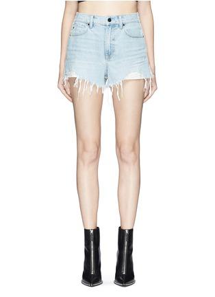 Main View - Click To Enlarge - Alexander Wang  - 'Bite' frayed cuff panelled denim shorts