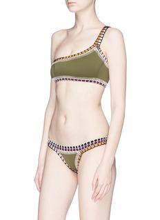 Kiini 'Wren' crochet trim one-shoulder bikini top