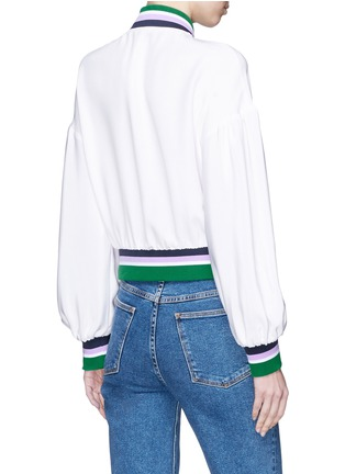 Back View - Click To Enlarge - Tibi - 'Cleo' stripe border cropped silk satin bomber jacket
