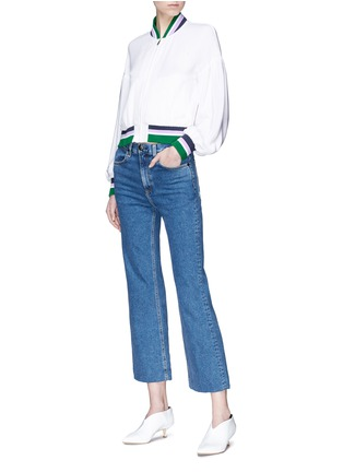 Figure View - Click To Enlarge - Tibi - 'Cleo' stripe border cropped silk satin bomber jacket