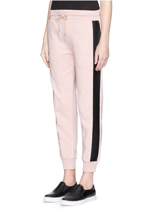 Front View - Click To Enlarge - McQ Alexander McQueen - Coated tuxedo stripe cotton terry sweatpants