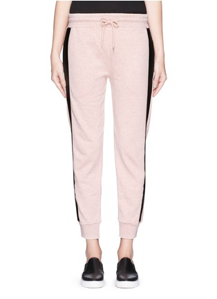 Main View - Click To Enlarge - McQ Alexander McQueen - Coated tuxedo stripe cotton terry sweatpants