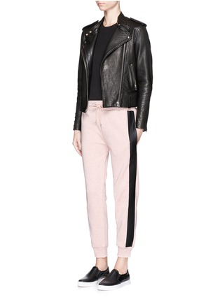 Figure View - Click To Enlarge - McQ Alexander McQueen - Coated tuxedo stripe cotton terry sweatpants