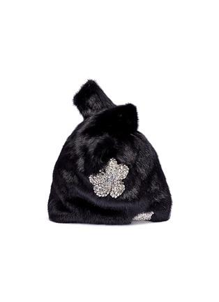 Main View - Click To Enlarge - SIMONETTA RAVIZZA - 'Furrissima' crystal embellished mink fur sac bag