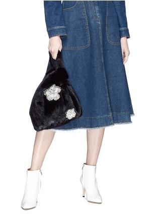 Figure View - Click To Enlarge - SIMONETTA RAVIZZA - 'Furrissima' crystal embellished mink fur sac bag