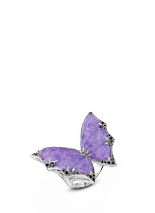 Main View - Click To Enlarge - Stephen Webster - 'Fly By Night' diamond amethyst 18k white gold batmoth ring