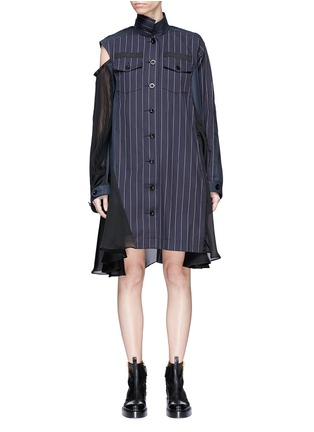 Main View - Click To Enlarge - Sacai - Asymmetric panelled pinstripe shirt dress