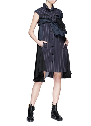 Figure View - Click To Enlarge - Sacai - Asymmetric panelled pinstripe shirt dress