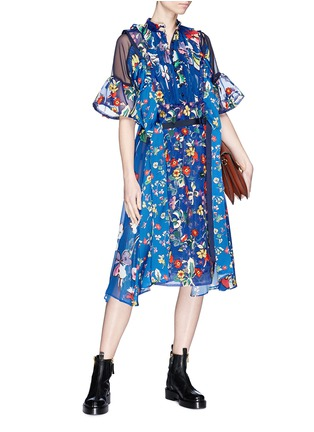 Figure View - Click To Enlarge - Sacai - Belted floral print panelled midi dress