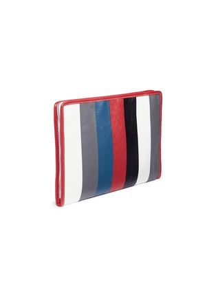 Detail View - Click To Enlarge - Balenciaga - 'Bazar' stripe crinkled leather zip pouch