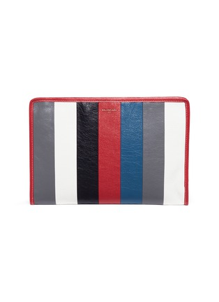 Main View - Click To Enlarge - Balenciaga - 'Bazar' stripe crinkled leather zip pouch