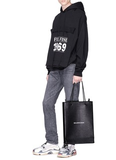Balenciaga 'North-South' logo print medium leather tote bag