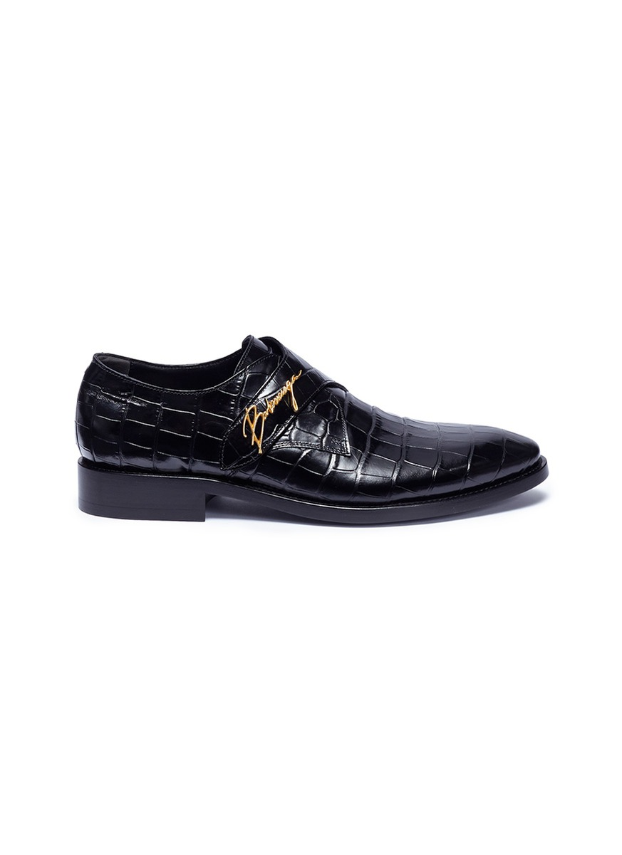 City Evening monk strap croc embossed leather loafers by Balenciaga