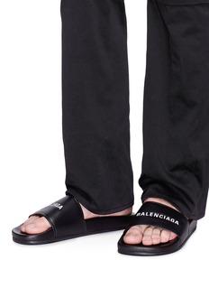 Balenciaga 'Piscine' logo print lambskin leather slide sandals