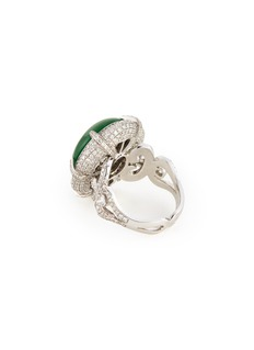 Samuel Kung Diamond jade 18k white gold ring