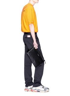 Balenciaga 'Explorer' logo debossed crinkled leather zip pouch
