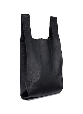 Detail View - Click To Enlarge - Balenciaga - 'Supermarket Shopper' slogan print medium leather tote bag
